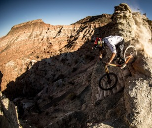 Brendan Fairclough competes in the 2015 Rampage MTB event.