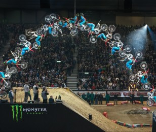 Josh Sheehan competes in the 2015 Moto X Quarterpipe competition at X-Games.