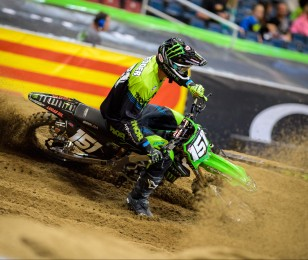 Monster athletes compete in the 2016 Supercross season in Indianapolis