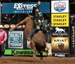 Guilherme Marchi competes in the 2015 PBR season in Nampa