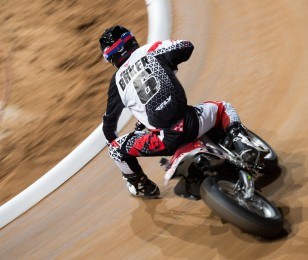 Brad Baker competes in the 2015 Flat Track competition at X-Games.