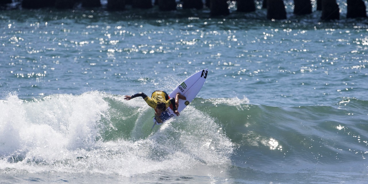 Griffin Colapinto competes in the 2015 Vans US Open of Surf.