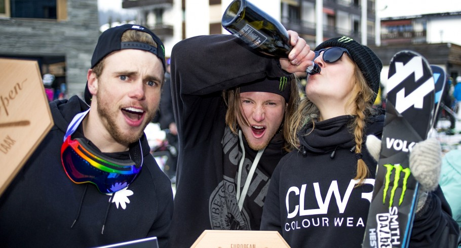 Emma Dahlstrom, James Woods and Gus Kenworthy celebrating at the European Open in Laax, Switzerland