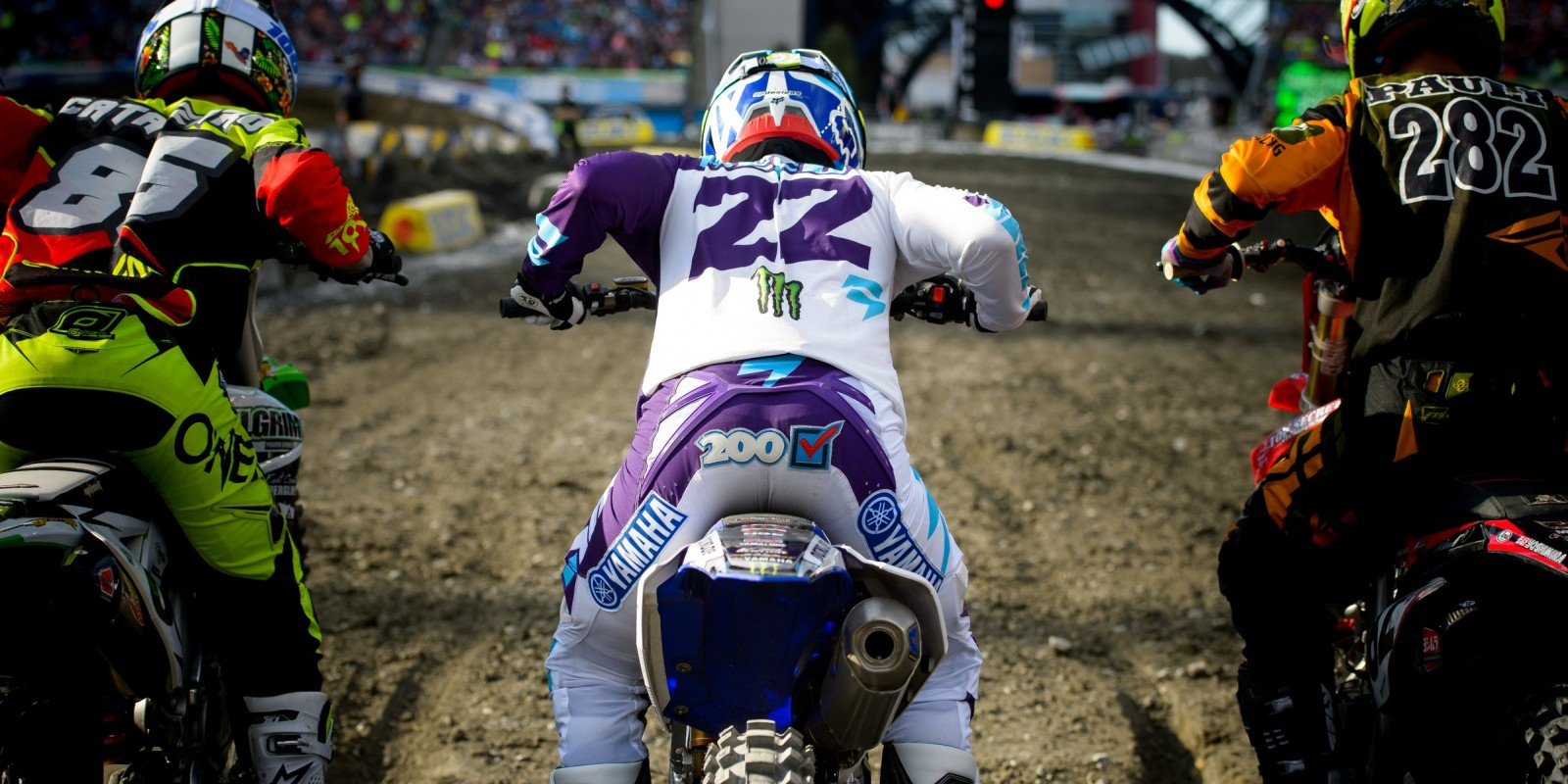 Monster athletes compete in the 2016 Supercross season in Foxborough, MA