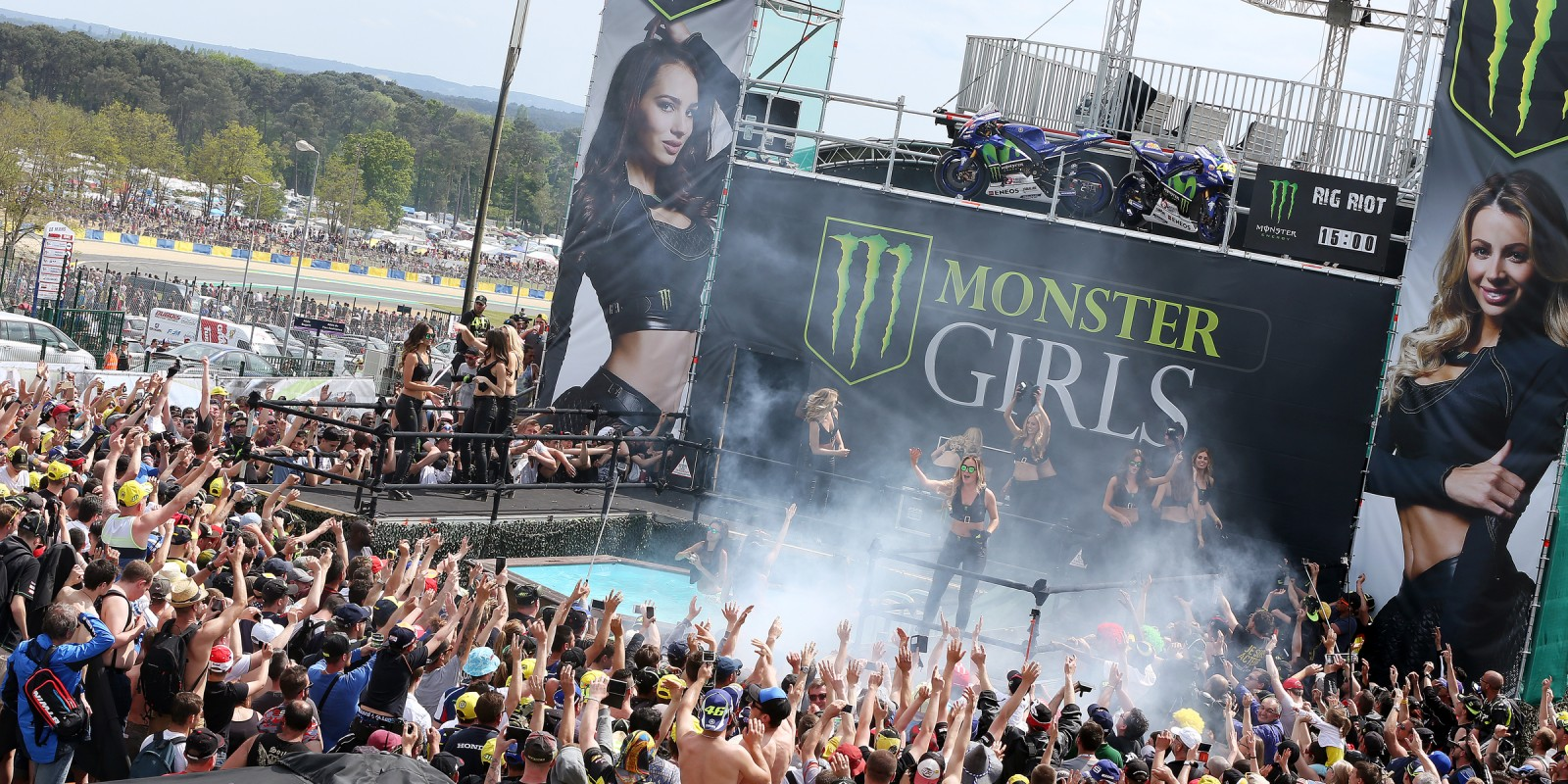 Monster Girls in action on the all new Monster Girl stage at our rig for Le Mans Moto GP 2016.