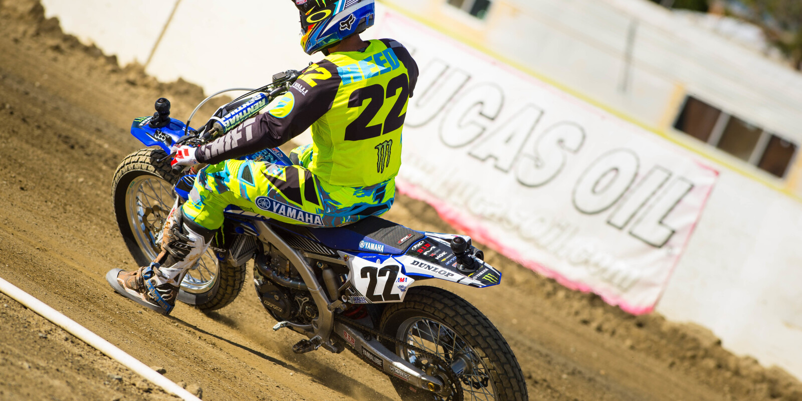 Chad Reed races flat track.
