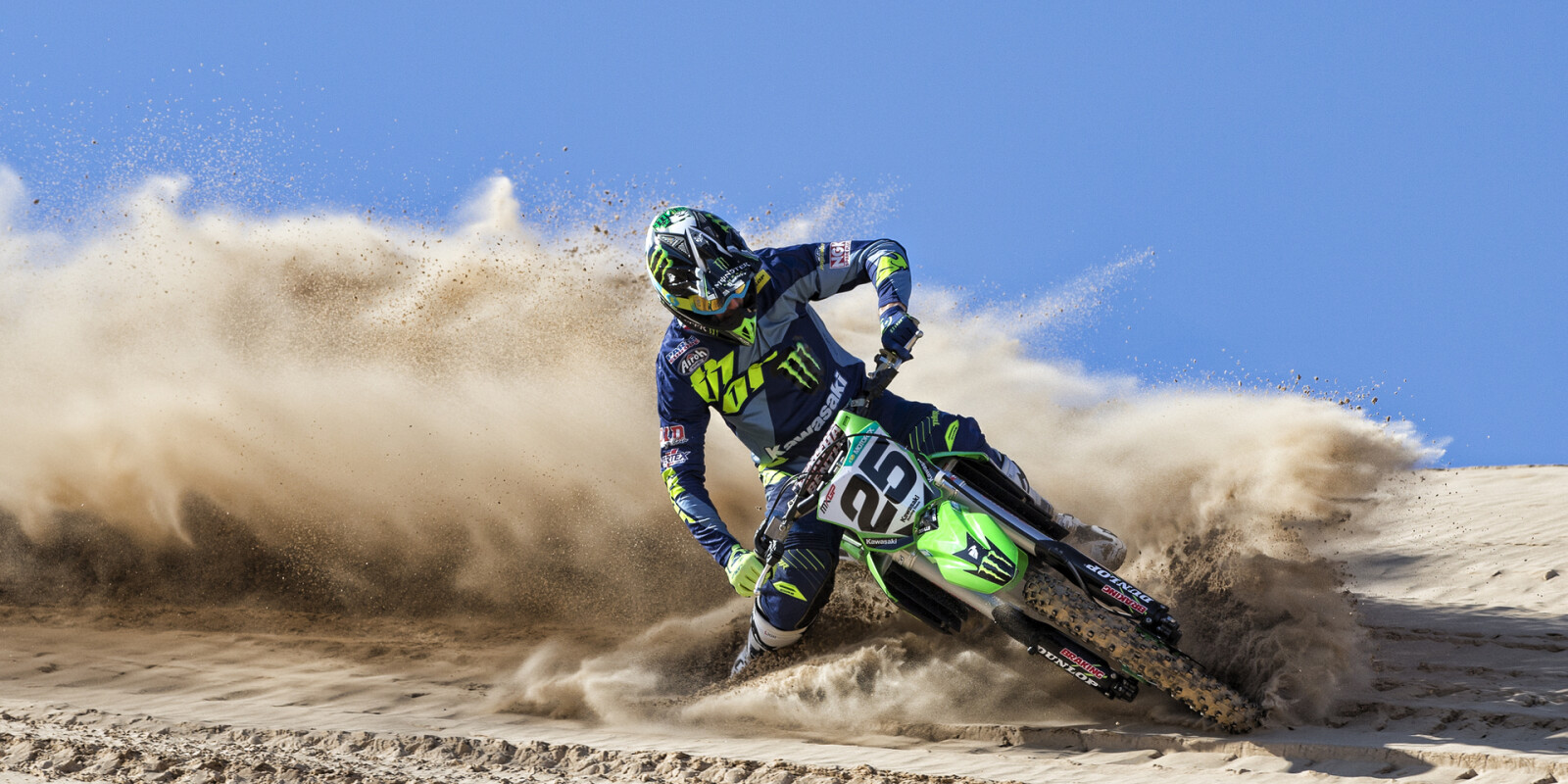 MXGP star and new Monster Energy Kawasaki rider Clement Desalle has fun on his works KX450F in his first official photoshootClement Desalle 2016 Monster Energy Photos