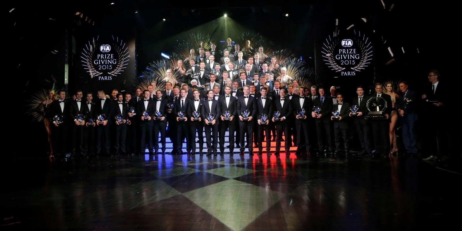 The FIA championship winning drivers at the  2015 FIA Awards Gala in Paris