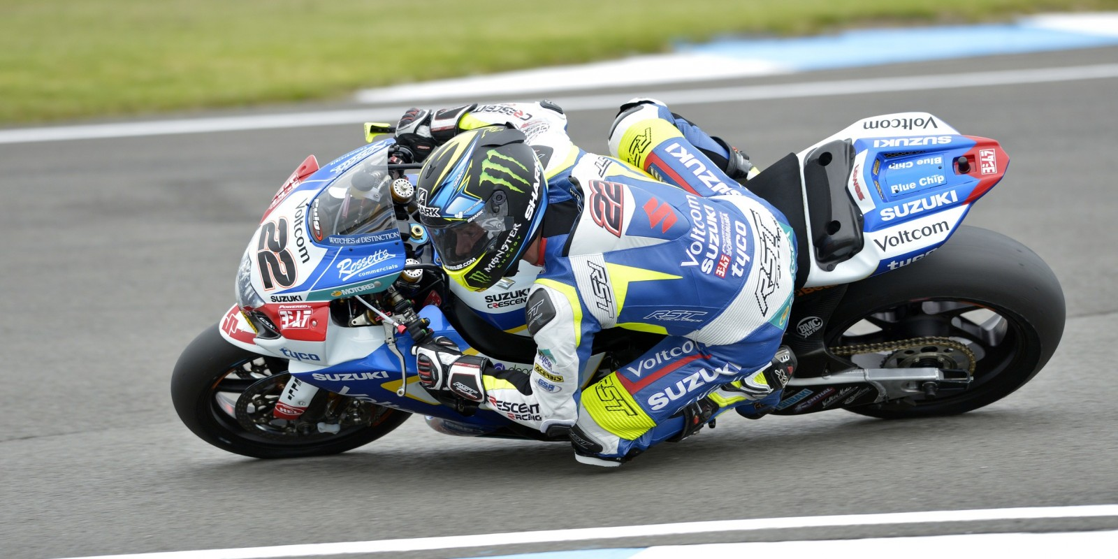 Images of Suzuki racer Alex Lowes at R6 of the 2015 WSBK season