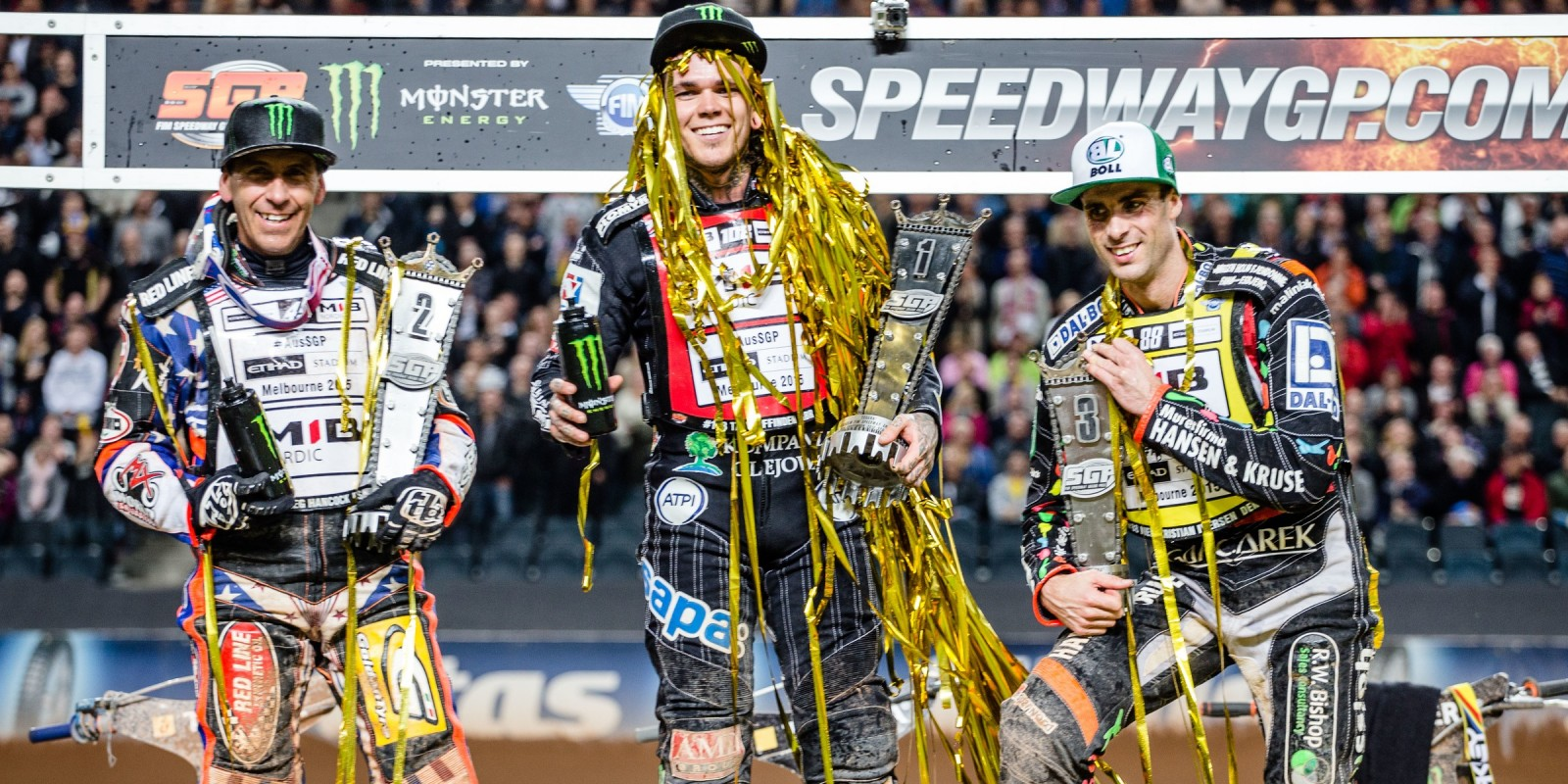 Greg Hancock and Tai Woffinden at the 2015 Stockholm Speedway Grand Prix