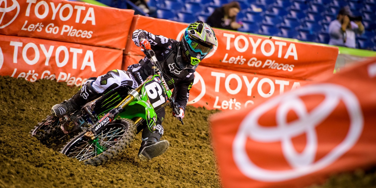Monster athletes compete in the Supercross 2016 season in Indianapolis