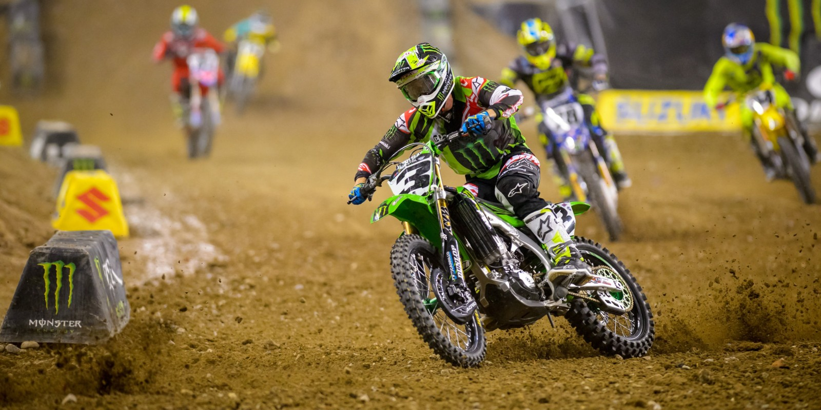 Monster athletes compete in the Supercross season in Detroit