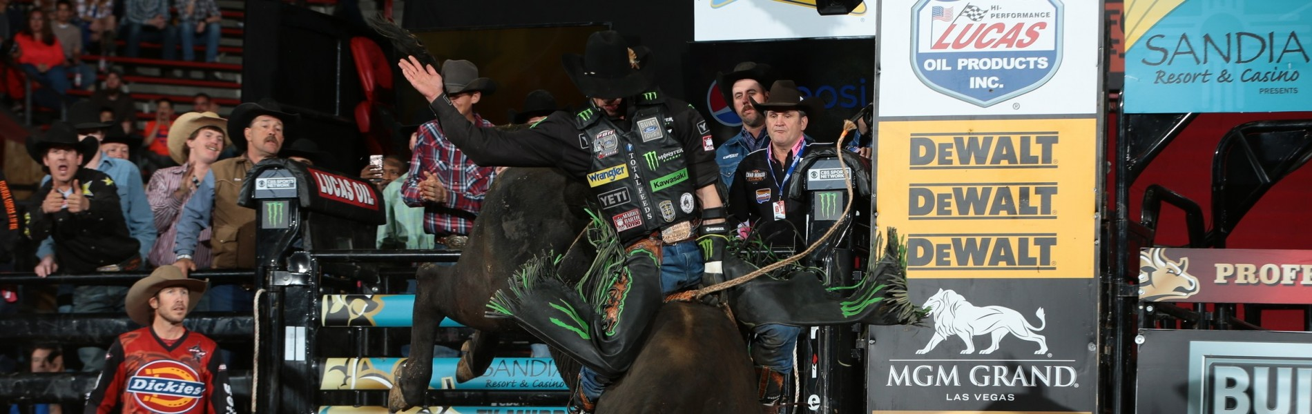 JB Mauney rides Ron Alsbaugh`s Shelly`s Gangster for 88.25 during the second round of the Albuquerque Built Ford Tough Series PBR