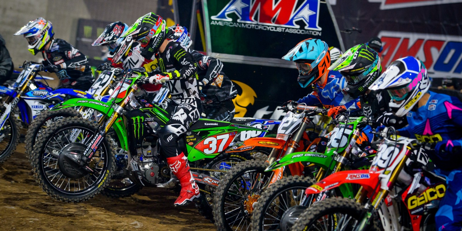 Monster athletes compete during the 2016 Supercross season in Glendale, AZ