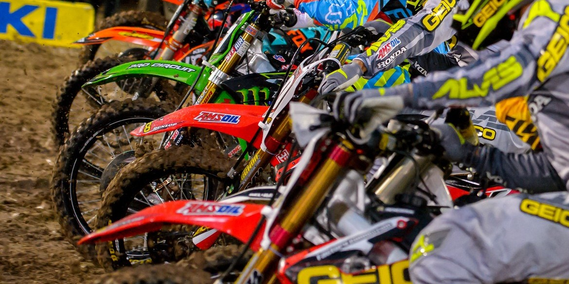 Monster athletes compete during the 2016 Supercross season in Las Vegas Starting Line