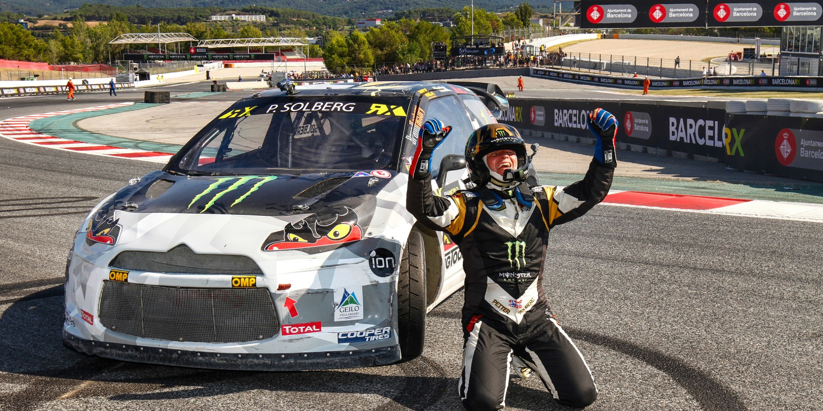 Petter Solberg at round 10 of the 2015 FIA World Rallycross Championship in Barcelona