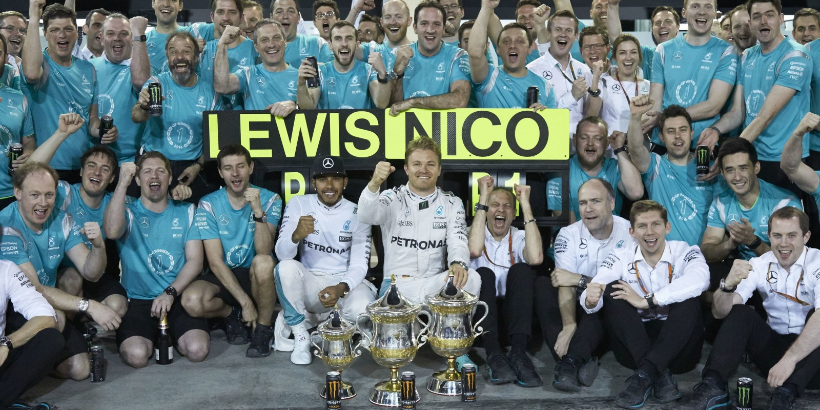 Sunday images of Lewis Hamilton and Nico Rosberg from round two of the 2016 Formula One World Championship
