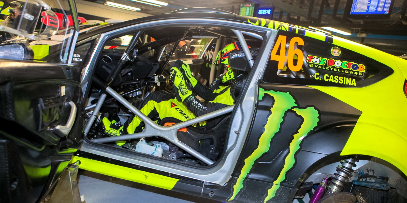 Vale inside the car and ready to go!