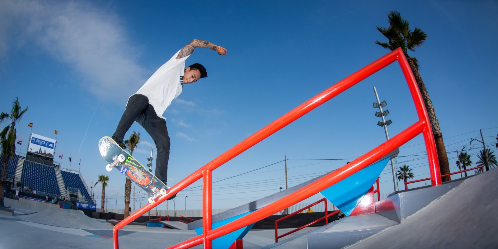 Monster athletes compete in the 2016 SLS tour in Barcelona, Nyjah Huston