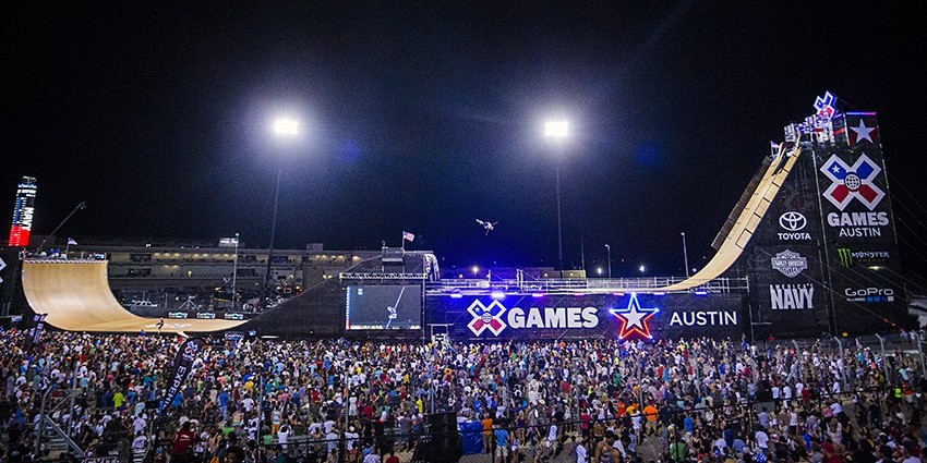 Colton Satterfield competes in the 2015 BMX Big Air competition at X-Games.