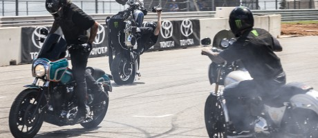 Unknown Industries stunt team performs at the 2015 Austin X-Games.