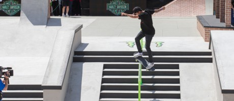 Nyjah Huston competes in the 2015 Skateboard Street competition at X-Games.