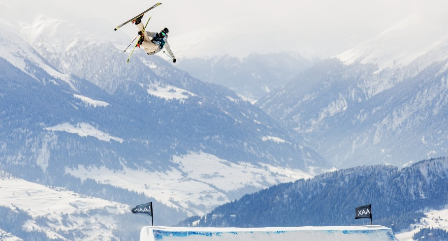 Evan McEachran competing at the European Open in Laax, Switzerland