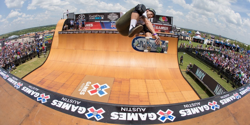 Pierre Luc Gagnon competes in the 2015 Skate Vert competition at X-Games.