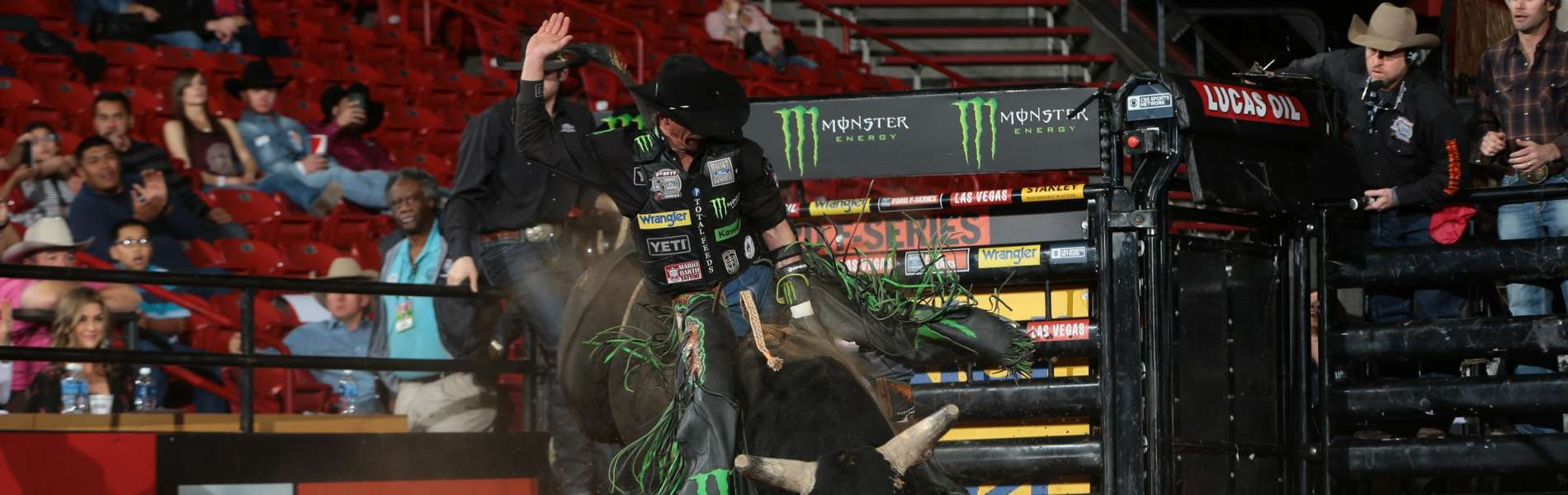 JB Mauney rides Martinez Bucking Bulls, LLC`s Oklahoma Bandit for 87.5 during the first round of the Albuquerque Built Ford Tough Series PBR
