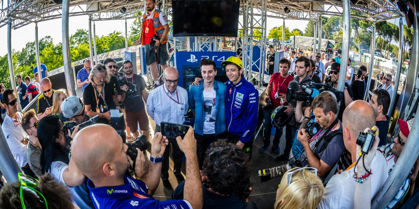 Valentino Rossi playing at the Media presentation of his new video game. Milestone & Dorna Keywords Keywords