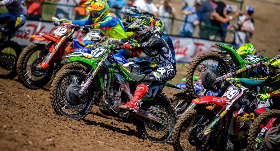 Joey Savatgy competes in the 2016 Pro Motocross Championship season at the Thunder Valley National in Lakewood, Colorado.