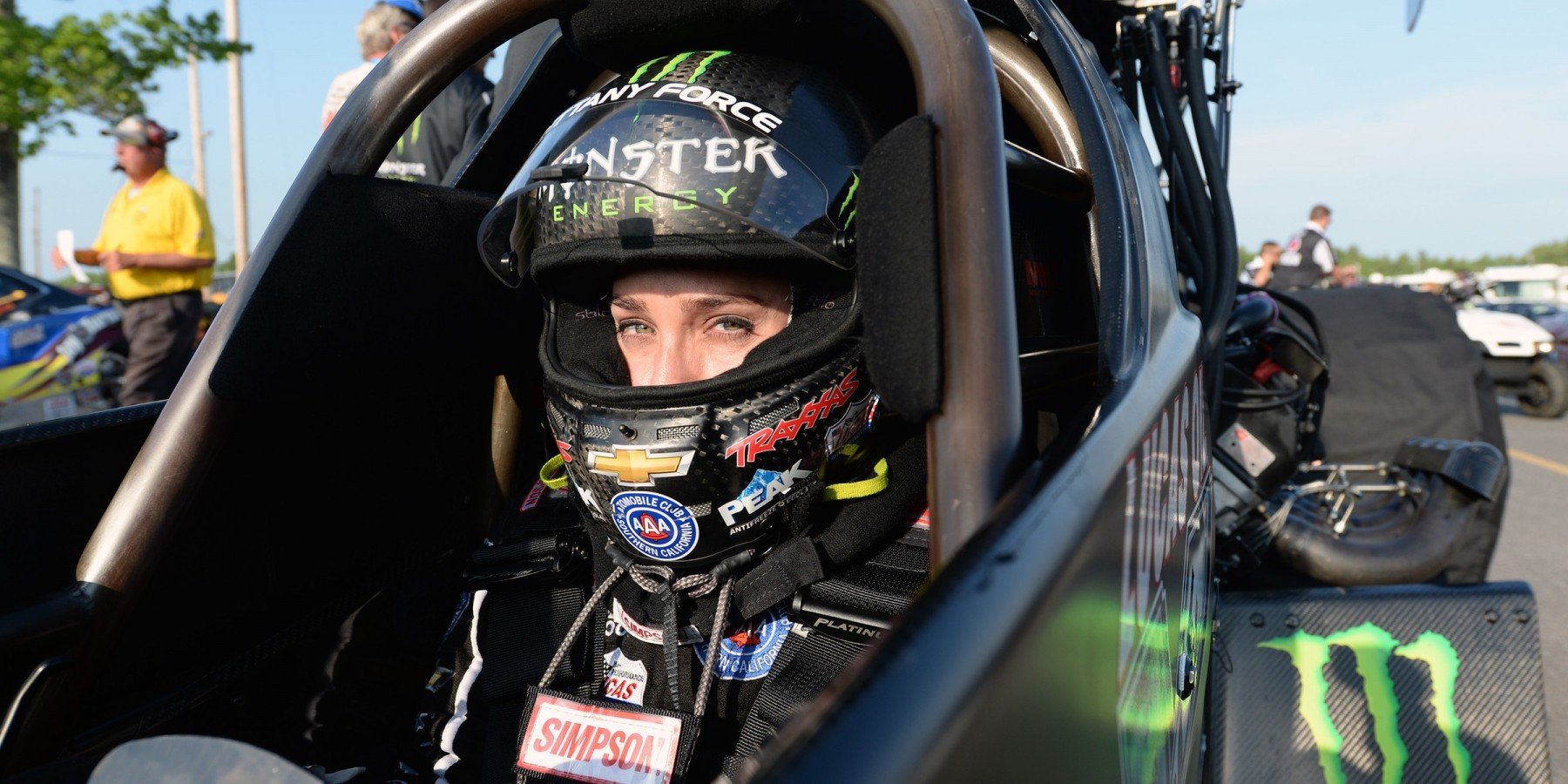 Monster racer Brittany Force competes in the 2016 NHRA season in Epping, New Hampshire.