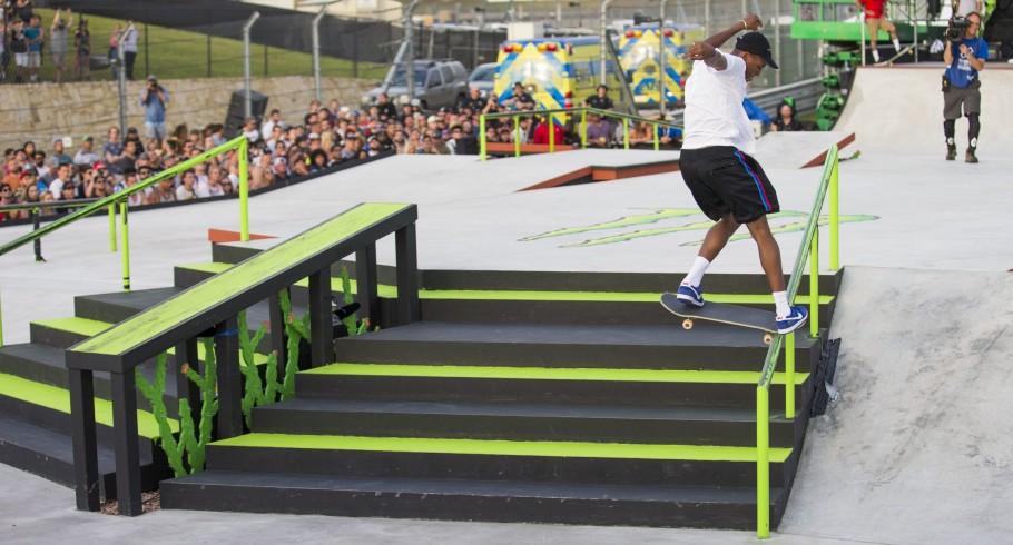 Monster athletes skate in the 2016 Summer X-games.