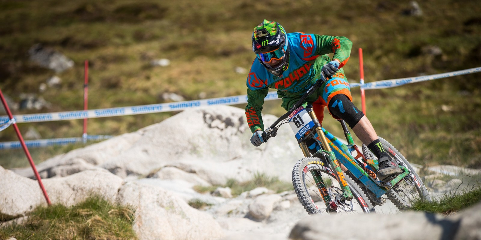 Monster riders compete in the 2016 UCI World Cup in Fort William, Scotland.
