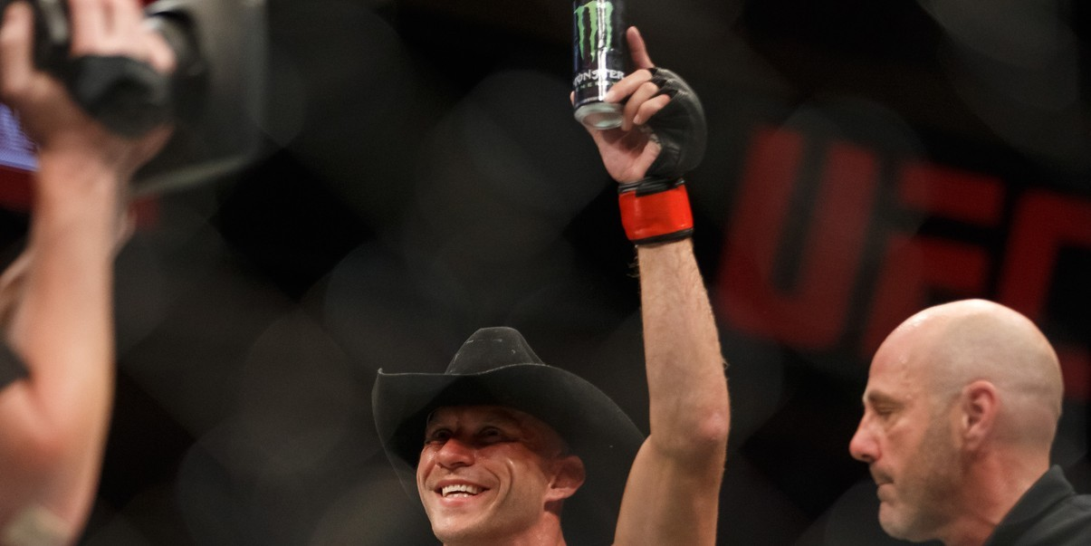 Donald Cerrone celebrates his win over Patrick Cote in their welterweight bout during the UFC Fight Night event inside the TD Place Arena on June 18, 2016 in Ottawa, Ontario, Canada.