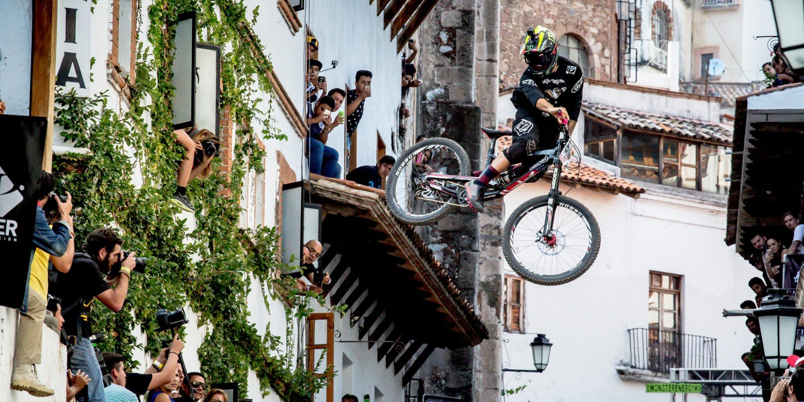 Cam Zink competing in the 2015 Downhill Race in Taxco, Mexico
