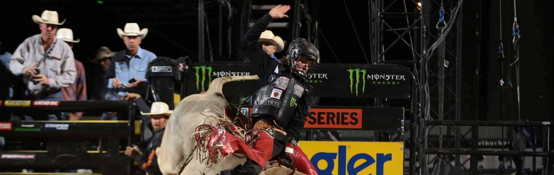 Derek Kolbaba rides Jerry Brown Bucking Bulls's Tso-Op for 83 during the first round of the Helldorado Days Last Cowboy Standing Built Ford Tough Series PBR in Des Moines, IA