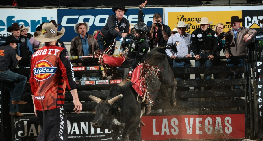 Derek Kolbaba rides Jeff Robinson/TNT Bucking Bulls's I'm A Gangster Too for 87 during the second round of the Billings Built Ford Tough series PBR in Des Moines, IA