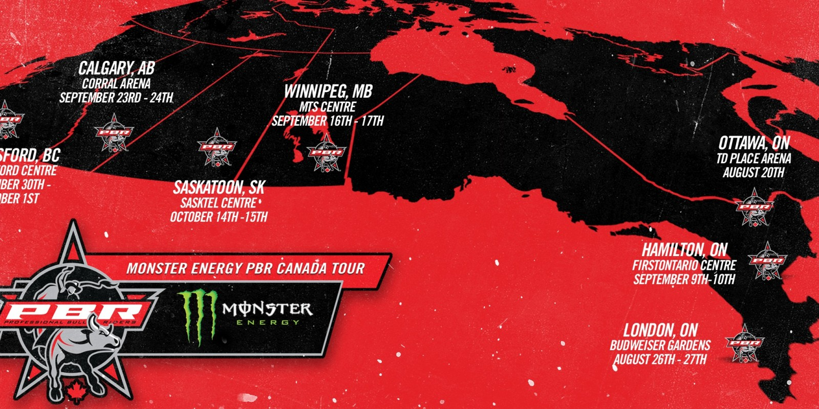 Digital Assets for the Monster Energy PBR Canada Tour 2016 event page on the website.