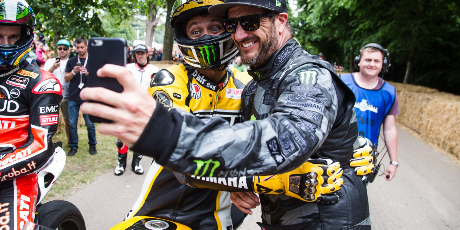 Valentino Rossi and Ken Block at Goodwood FOS