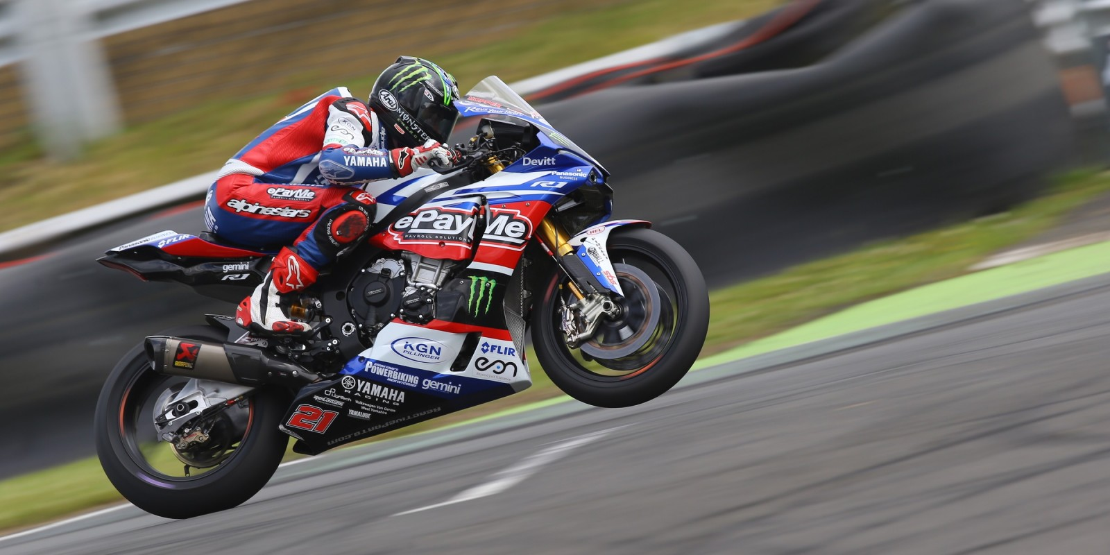 Monster athletes compete in the 2016 British Superbike in Knockhill, Day One