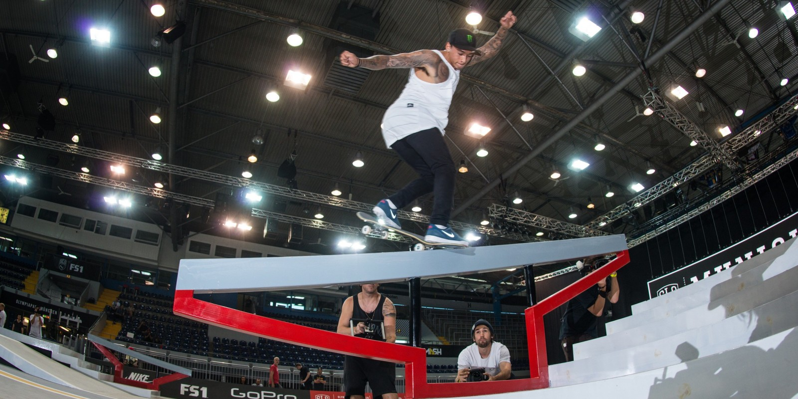Nyjah Huston during practice for the SLS 2016 season in Munich, Germany