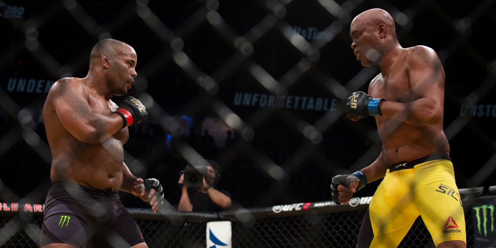 Daniel Cormier throws a kick against Anderson Silva during UFC 200 at T-Mobile Arena on July 9, 2016 in Las Vegas, Nevada.
