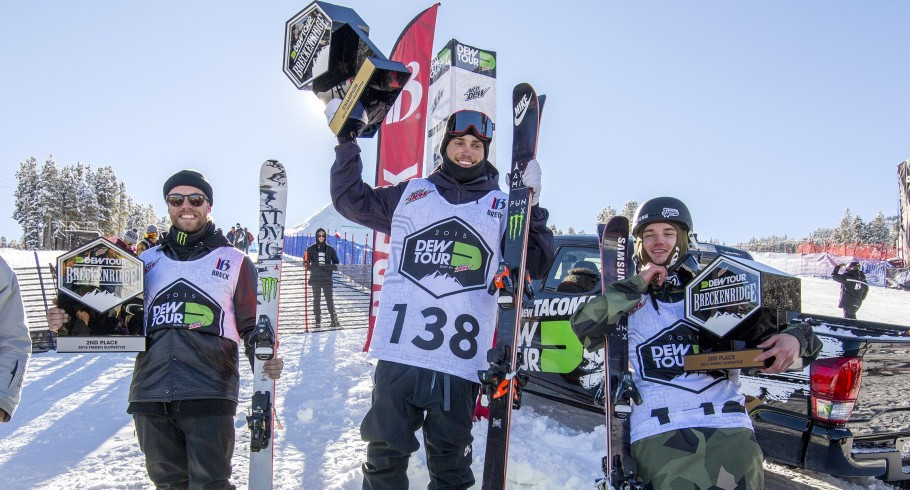 Jossi Wells and Gus Kenworthy celebrate their podium performances at the Winter Dew Tour in Breckenridge, CO