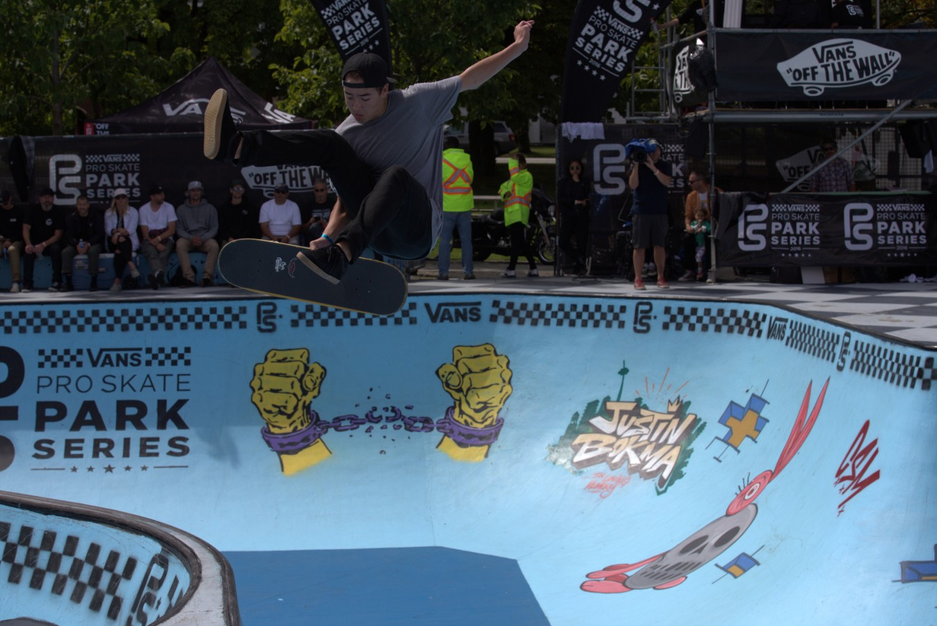 Trey Wood during the 2016 Vans Skate Park Series in Vancouver, Canada