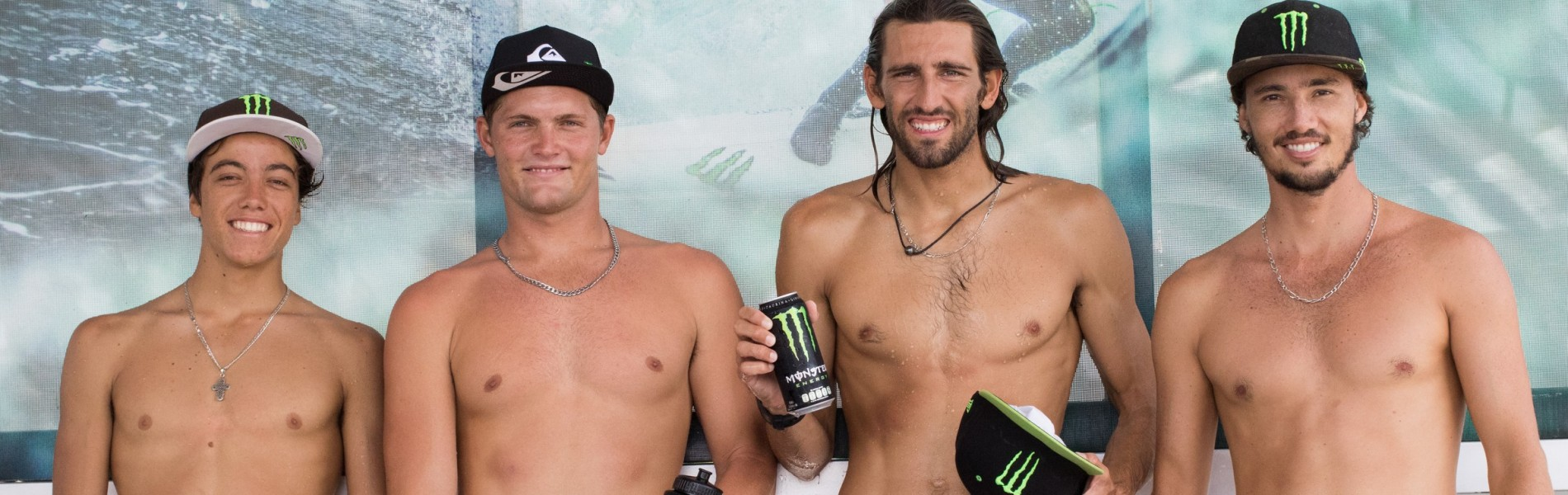 Monster Energy surfers together at VANS Surf Open Acapulco