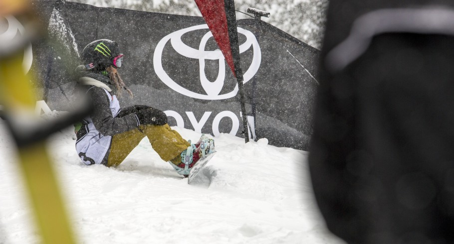 Chloe Kim competing at the Winter Dew Tour in Breckenridge, CO