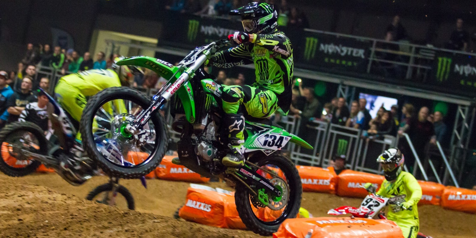 Team Monster Energy Alpinestars Kawasaki at the 2015 Kings of Xtreme in Leipzig