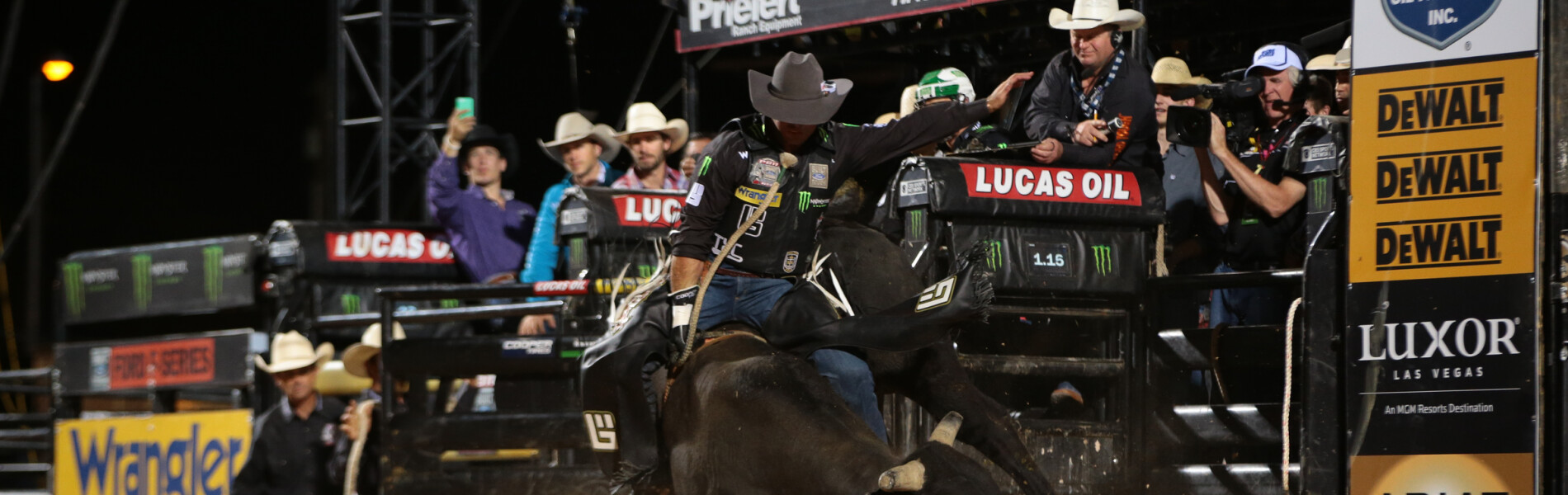 Guilherme Marchi rides New West Rodeos's Blackberry Smoke for 80.75 and gets a reride during the first round of the Helldorado Days Last Cowboy Standing Built Ford Tough Series PBR