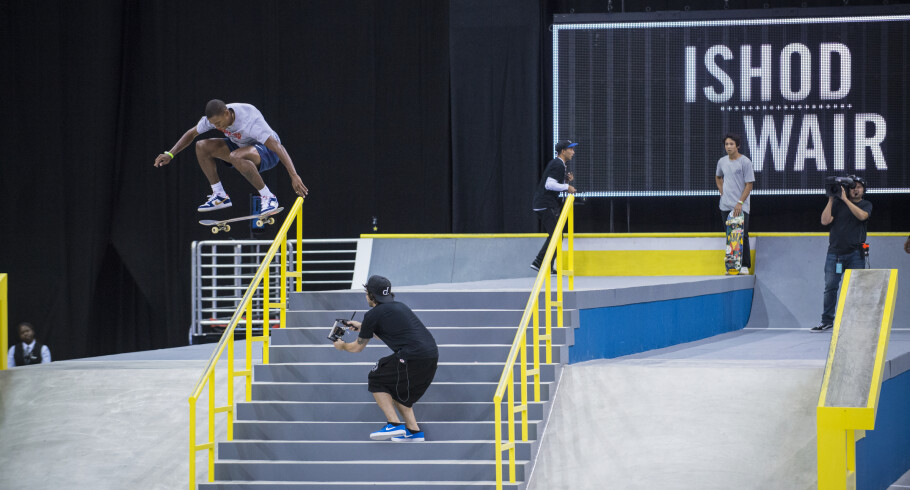 Ishod Wair competing at the 2016 Street League Series in Newark, New Jersey